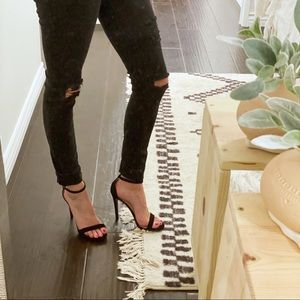 Classic Black Ankle Strap Heels 7.5